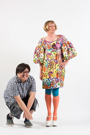 Central Saint Martins fashion student Angus Lai with Grayson Perry