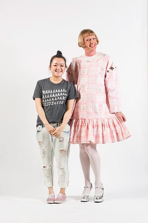 Central Saint Martins fashion student Emily Wang with Grayson Perry