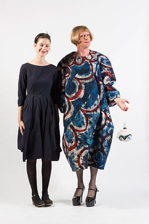 Central Saint Martins fashion student Harriet Cox with Grayson Perry