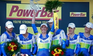Orica GreenEdge, with Simon Gerrans in the centre, celebrate stage four victory.