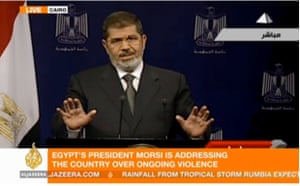 President Morsi delivers a televised address at 11:30pm local time, 2 July 2013, in a screen grab from Al-Jazeera.