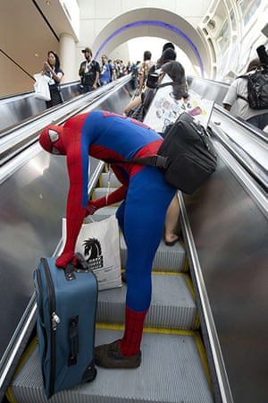 Comic-con: An attendee dressed as Spiderman