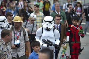 Comic-con: A Storm Trooper walks through the crowd