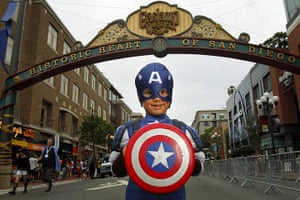 Comic-con: Atticus Khan poses for a photo dressed as Captain America