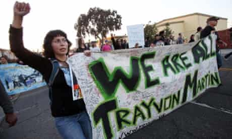 Protesters in Oakland, California, to demonstrate after George Zimmerman was cleared in the Trayvon Martin death