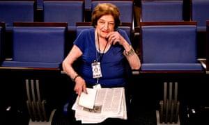 Long-time White House correspondent Helen Thomas taking up her seat