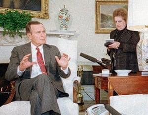 Helen Thomas: President George H. Bush speaks with Helen Thomas on 21 January, 1989