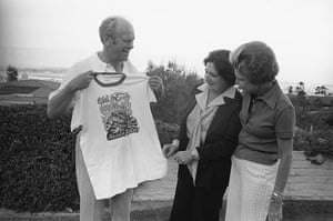 Helen Thomas: Gerald Ford Holding up Shirt with Wife and Helen Thomas in Observance