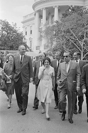 Helen Thomas: Lyndon Johnson Walking with Reporters