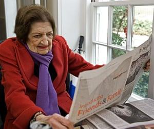 Helen Thomas: Correspondent Helen Thomas reads a newspapers
