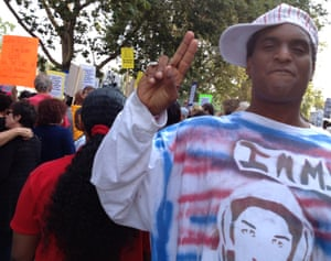 Tony B Conscious, an LA-based artist, at a rally for Trayvon Martin