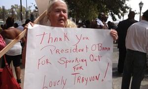 A protester at a rally for Trayvon Martin in LA