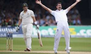 James Anderson celebrates the wicket of Shane Watson.
