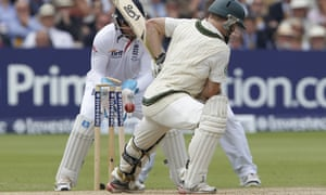 Chris Rogers leaves a straight one.