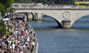 Packed river banks on the Seine ahead of tonight's action in Paris.