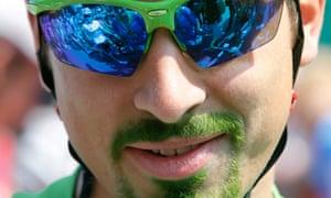 Peter Sagan's green facial fluff.