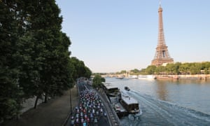 The pack rides on the Seine river banks.