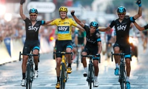 Chris Froome and Team Sky cross the finish line.