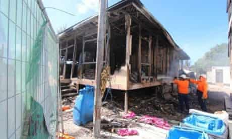 A building damaged by the 19 July riot at the Nauru immigration detention centre