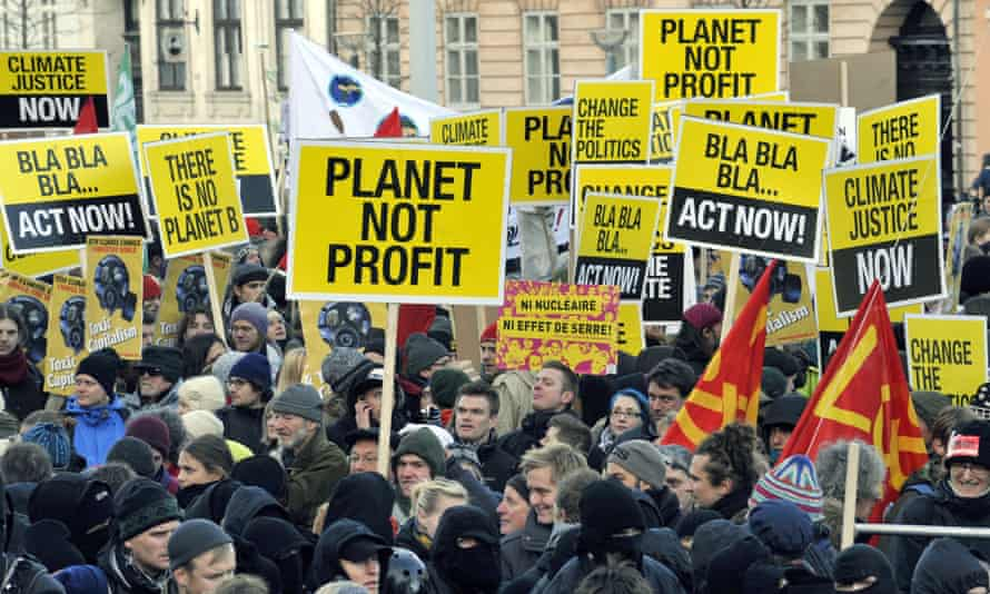Some of 30,000 people demonstrate in 2009 in the centre of Copenhagen to turn up the heat on world leaders debating global warming at the UN climate conference.