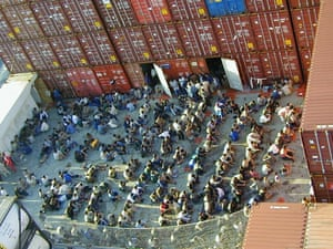 Refugees on board the Norwegian cargo ship Tampa.