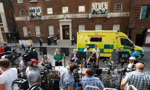 The media gather in front of the Lindo Wing of St Mary's hospital on 22 July 2013.