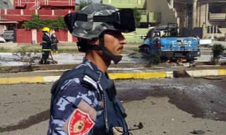 An Iraqi policeman in Baghdad