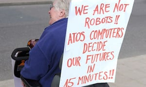 Disabled people protesting against Atos and cuts in their benefits in May 2011