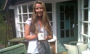 Lynda Tillotson, of L Interiors, Bucklebury, with a commemorative royal baby mug.