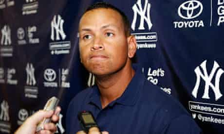 New York Yankees' Alex Rodriguez speaks with reporters
