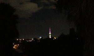 The Sky Tower in Auckland marks the imminent arrival of the royal baby.