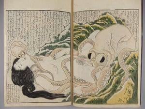 Aquatopia: Katsushika Hokusai: Tako to ama Pearl Diver and Two Octopi 1814