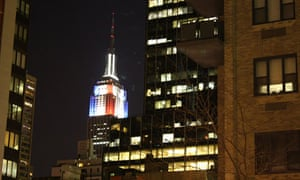 The Empire State Building lit up for the US election in November 2012.