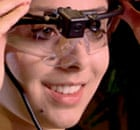 A volunteer at the Ad Lab adjusts her eye-tracking goggles