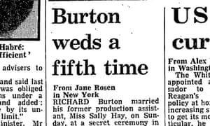 Richard Burton weds Sally Hay, July 1983