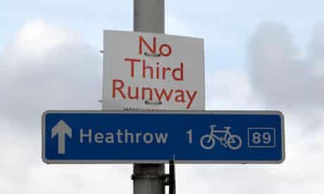 A protest sign near Heathrow Airport