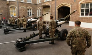 The Honourable Artillery Company (HAC) prep their kit and personnel at Armoury House, London for the Royal Gun Salute from the Tower of London for the birth of the Duke and Duchess of Cambridge's baby