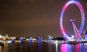 London Eye is illuminated to celebrate the birth of a royal baby boy in central London