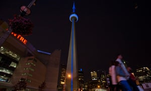 The CN Tower is lit in blue to celebrate the birth of the royal baby in Toronto