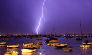 Lightning strikes over Poole harbour