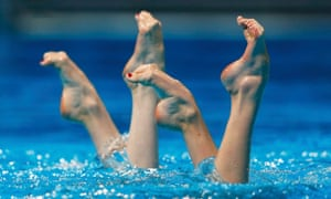 On point: Russia's Svetlana Kolesnichenko and Svetlana Romashina perform in the synchronised swimming duet free preliminaries during the World Swimming Championships at the Sant Jordi arena in Barcelona.