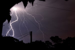 Stormy weather: Lightning strikes captured over the skies of Smeeton Westerby, Leicestershi