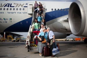 New Jewish immigrants from the US and Canada arrive at the Ben Gurion airport near Tel Aviv in Israel.