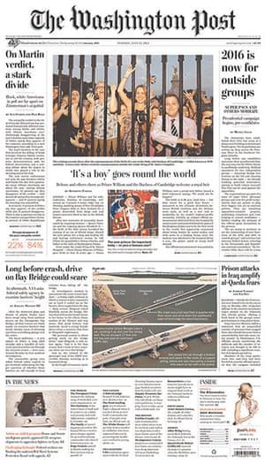 Royal baby front pages: Washington Post