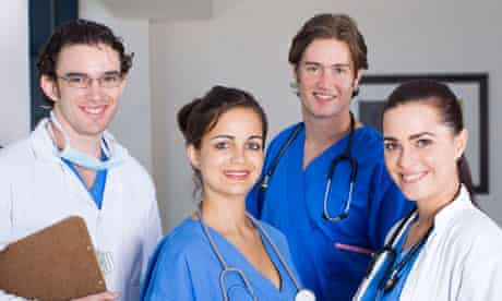 group of young doctors and nurses in hospital