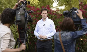 Deputy Prime Minister Nick Clegg seems to be taking a sombre approach to making a congratulation speech to the Duke and Duchess of Cambridge on the birth of their son from his summer home in Olmedo in central Spain.