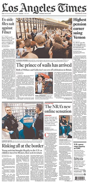 Royal baby front pages: Los Angeles Times