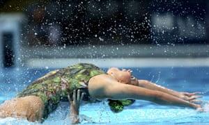 Making a splash at the Swimming World Championships in Barcelona are Estefania Piedrahita Alvarez and Monica Arango Estrada from Colombia, competing in the Synchronized Swimming Duet Free Preliminaries.