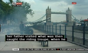 A gun salute for the royal baby in front of the Tower of London.