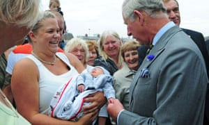Newborn Ronnie Benjamin is neither shaken nor stirred by meeting Prince Charles during a visit to Bridlington Harbour.